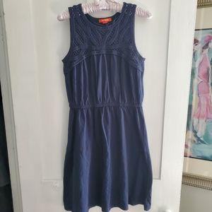 NWOT Navy Crochet Neck Dress
